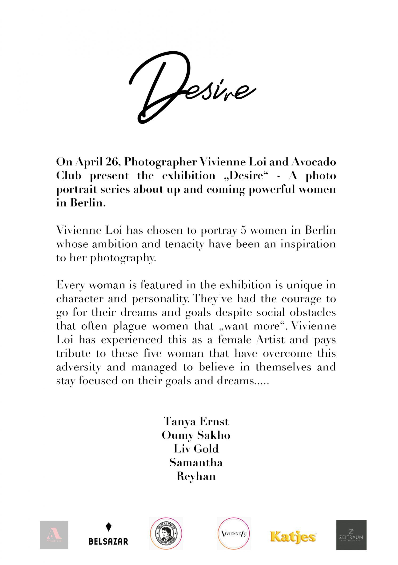 Desire - The Vernissage Photo exhibition at Avocado Club Berlin Friedrichshain